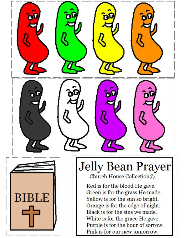 Jelly Bean Prayer Cutout Activity For Kids by Church House