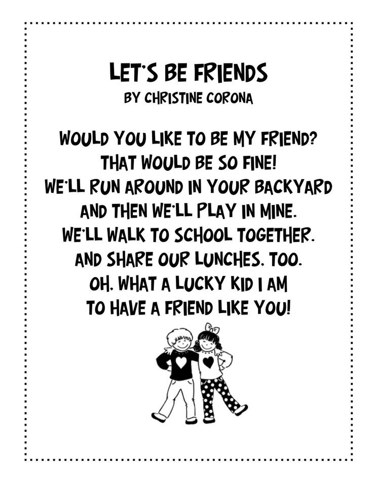 friendship poem Classroom Ideas Pinterest Friendship