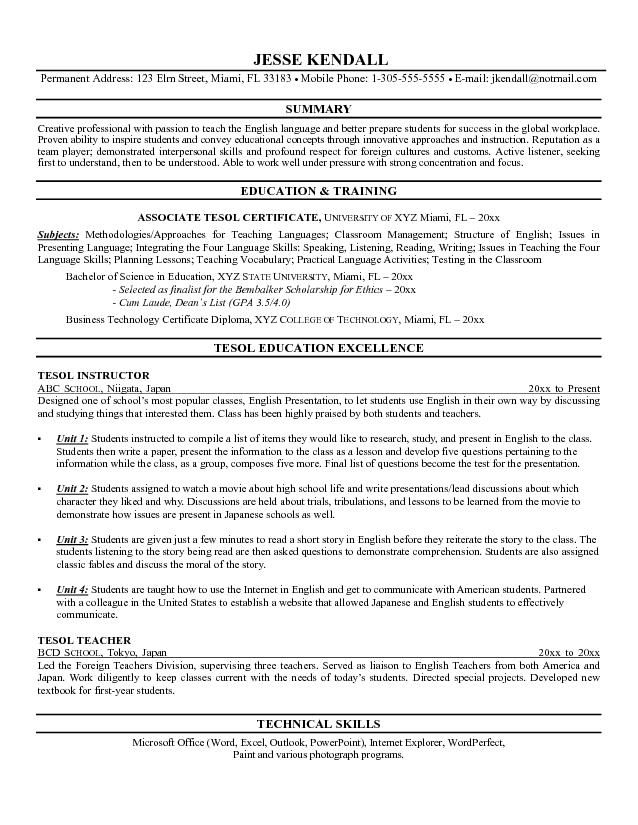 Example of a TESL Instructor Resume Teaching English as