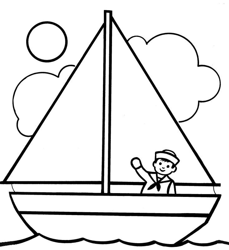 simple easy small boat coloring pages  fishing/boating