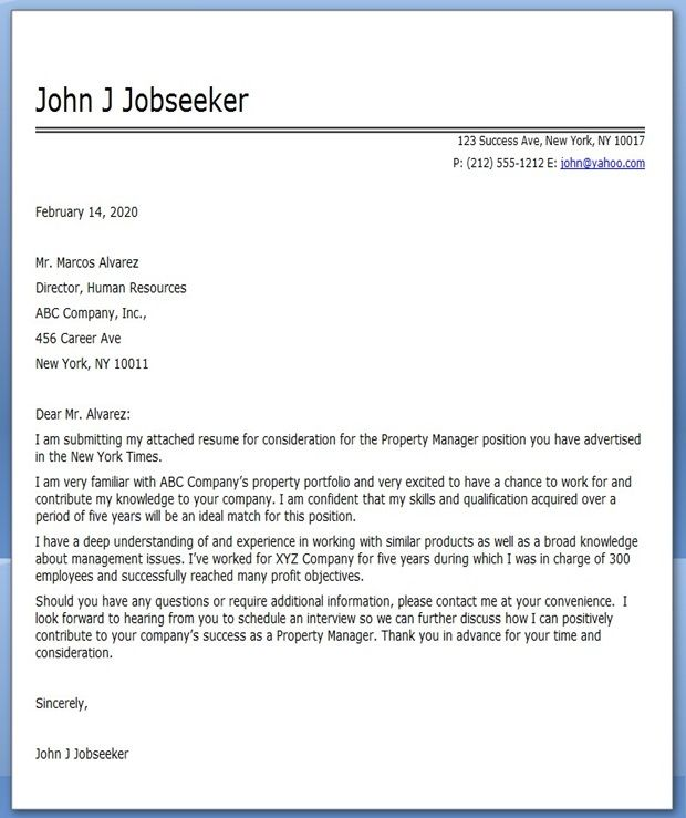 Commercial Property Manager Cover Letter Work Pinterest Cover ...