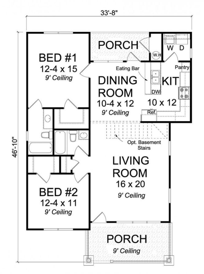 656296 2 Bedroom Bath Traditional Cottage With Open Floor Plan And All Walk