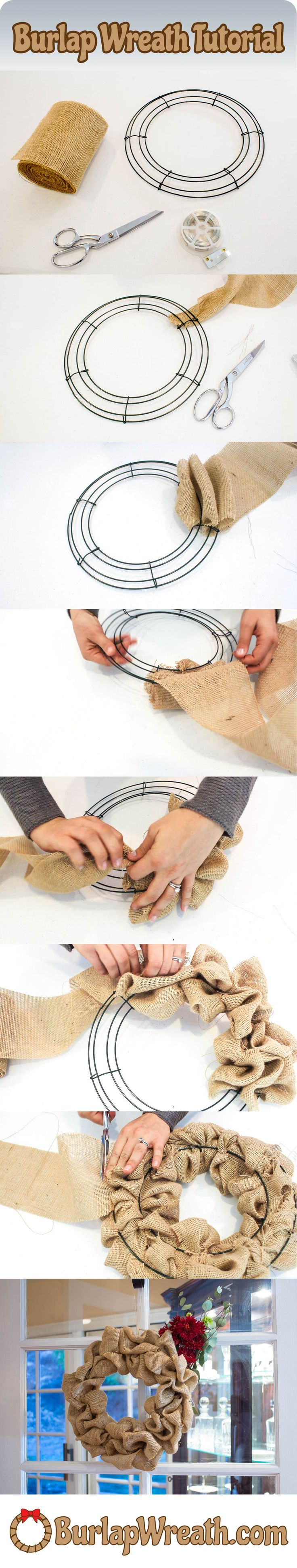 How to make a burlap wreath: Want to make a burlap wreath? Check out this easy to use tutorial showing you how to make a burlap
