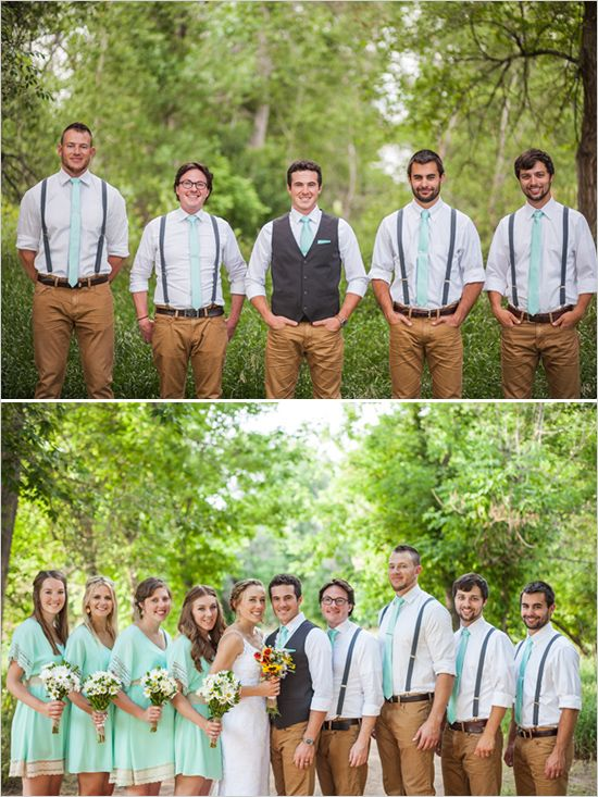 Mint and Lace Wedding in Denver Groom and groomsmen