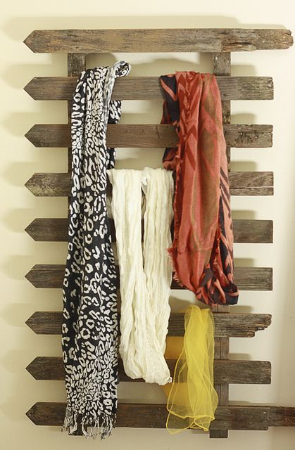 DIY Fence Scarf Storage…was going to just buy a towel rack, but may have to ch