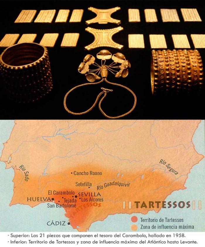 Tesoro del Carambolo y mapa de Tartessos