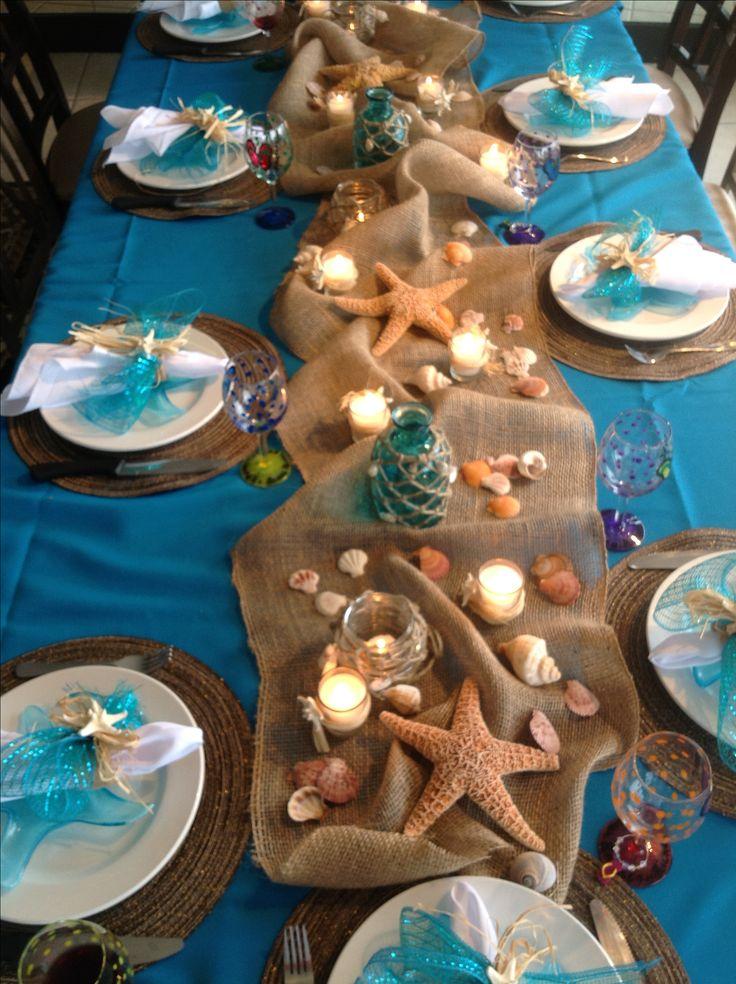 Ocean theme beach party table nice decor! I'd use LED