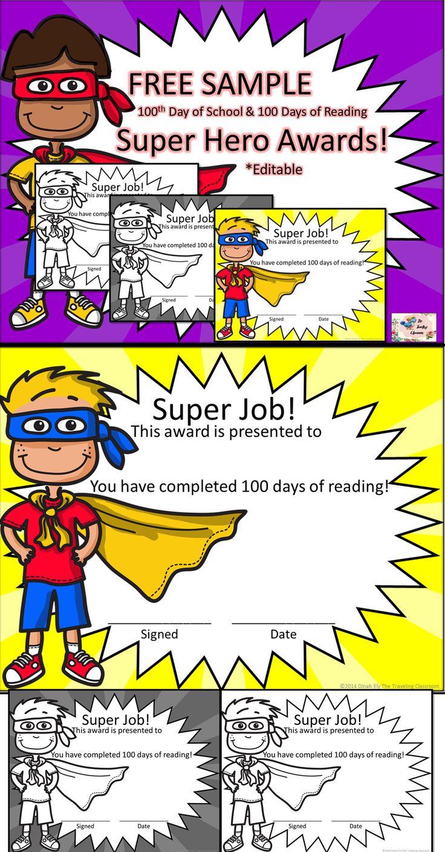 Free 100 Day Super Hero Awards 100dayofschool