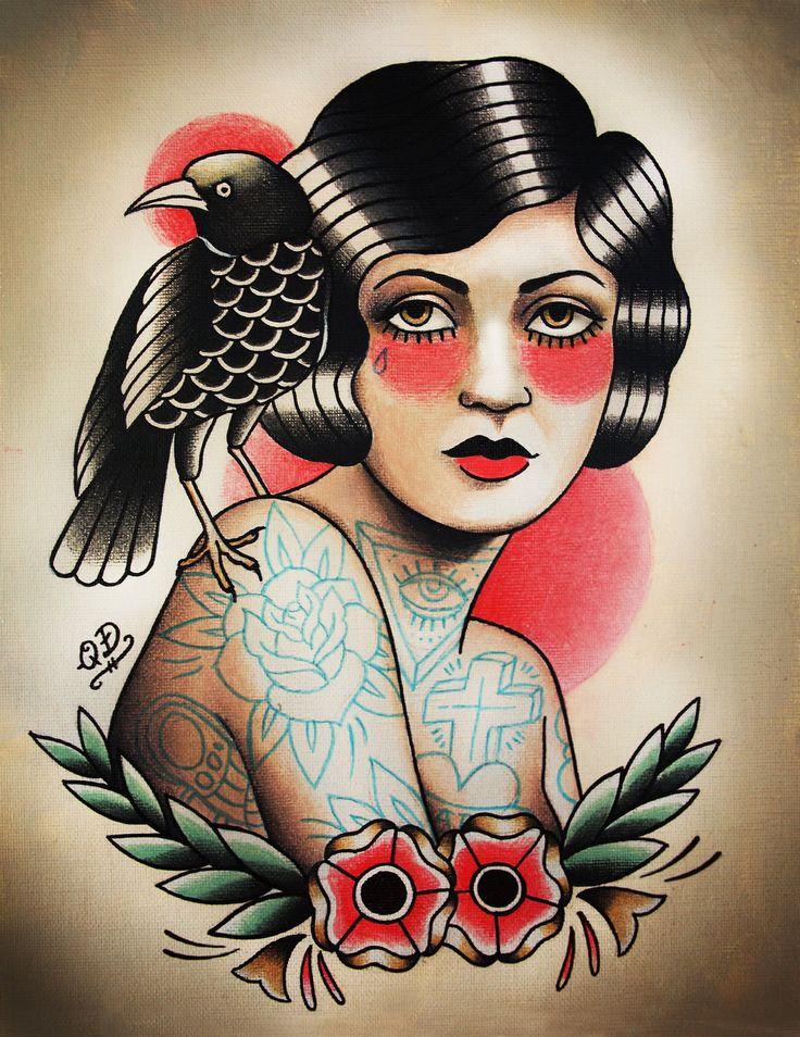 Flapper and Raven Tattoo Art Print Tattooed girls, The