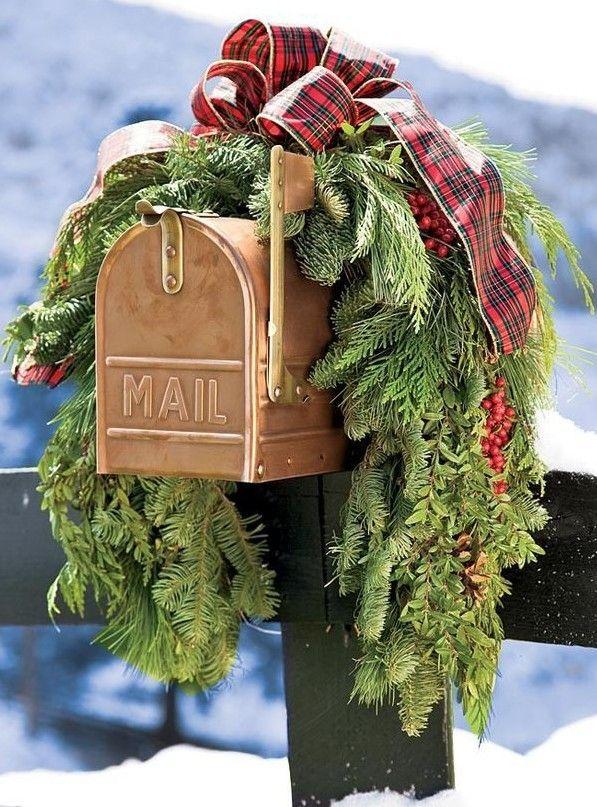 2013 Christmas mailbox cover decor, Christmas plaid bow garland mail box decor,