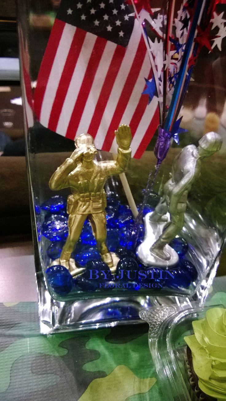 patriotic centerpieces, Army men, deployment party ideas