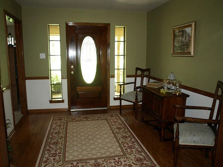 For Dining Room Stained Wood Chair Rail Tan Color Walls