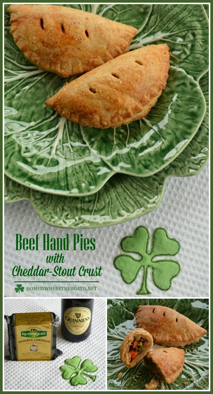 Beef Hand Pies with Cheddar-Stout Crust Savory hand pies made with a flaky crust of Irish cheddar cheese and Guinness Stout and a make-ahead recipe for St. Patrick's Day! | ©homeiswheretheboatis.net #Irish #stpatricksday #recipe #guinness #handpie