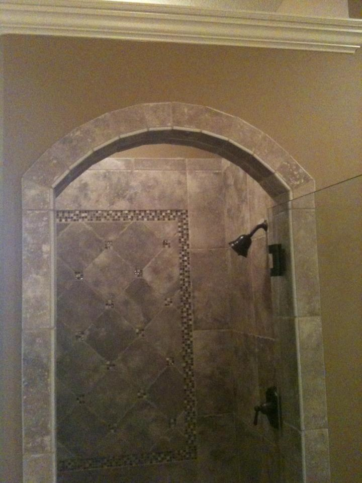 Shower Design With Arched Entrance American Olean Ash