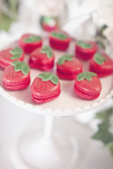 Strawberry macarons at a strawberry tea party #strawberry #teaparty