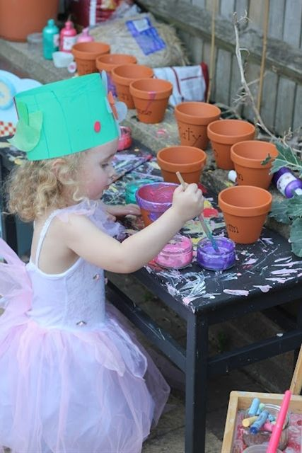 Garden party for kids. Paint your own pot,