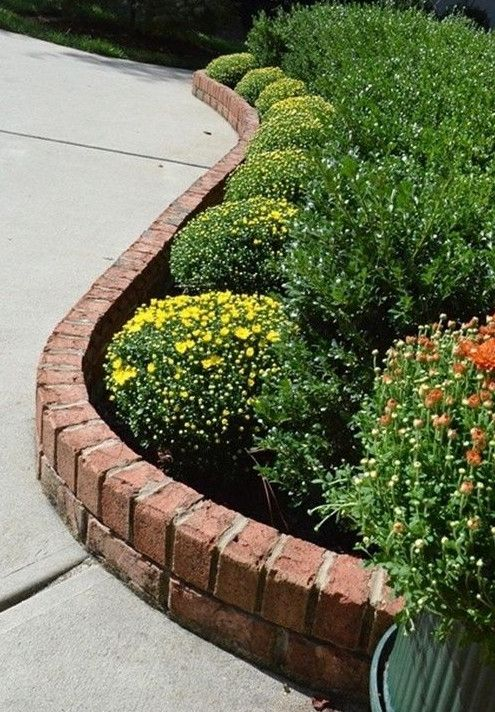 brick flower bed edging Yard Pinterest Colors, Gray