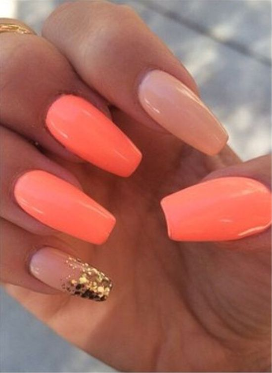 Best 25 Coral Acrylic Nails Ideas On Pinterest Nails