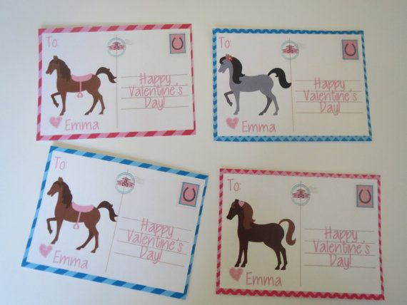 Horse Valentine Cards For Kids Personalized Printable