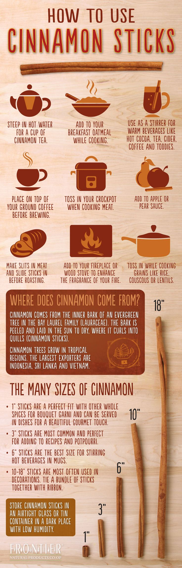 HOW TO USE CINNAMON STICKS ~ Enjoy this cool infographic detailing uses of this wonderfully healthy spice.