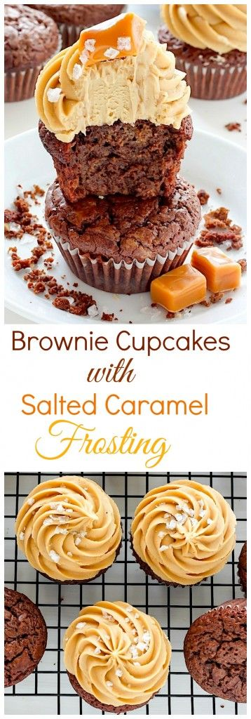 Dark Chocolate Brownie Cupcakes with Salted Caramel Frosting – these cupcakes are a dream come true for chocolate and caramel