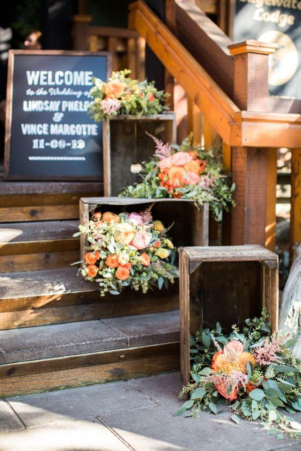 Rustic crate floral arrange
