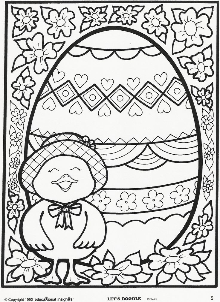 Easter egg and chick coloring page. Free Educational