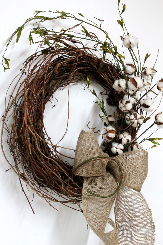 Primitive Front Door Wreath, Primitive Cotton on Twigs, Primitive Vine. Have some gold painted vines mixed into the wreath and a