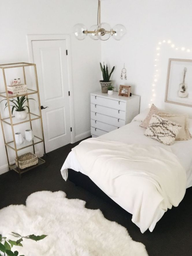 Beautiful White Bedroom Design With Minimalist Shelves