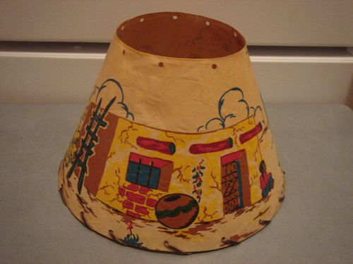 Vintage Western Cowboys Amp Indian Style Childs Paper Lamp