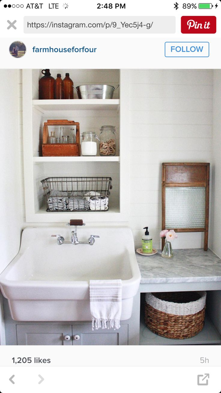 Farmhouse laundry sink mudroom/laundry room Pinterest