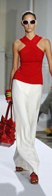 Image result for red blouse white pants