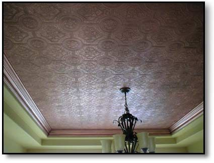 Faux Copper Ceiling Wallpaper Painted With Copper Paint And Finished With An Aged Patina