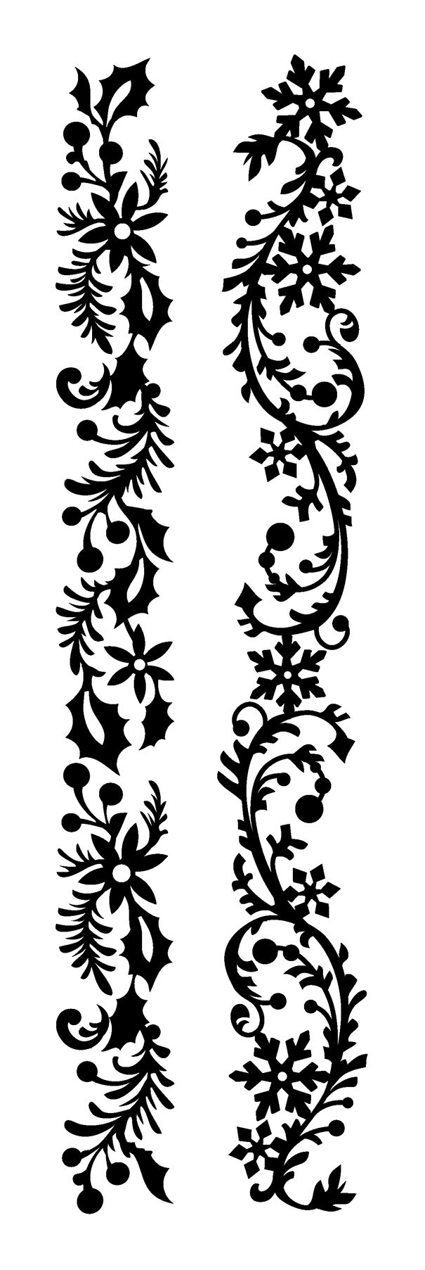Holly garland. Snowflake garland. Silhouette for cutting