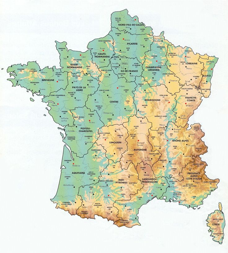 Geological map of France showing mountain ranges, rivers