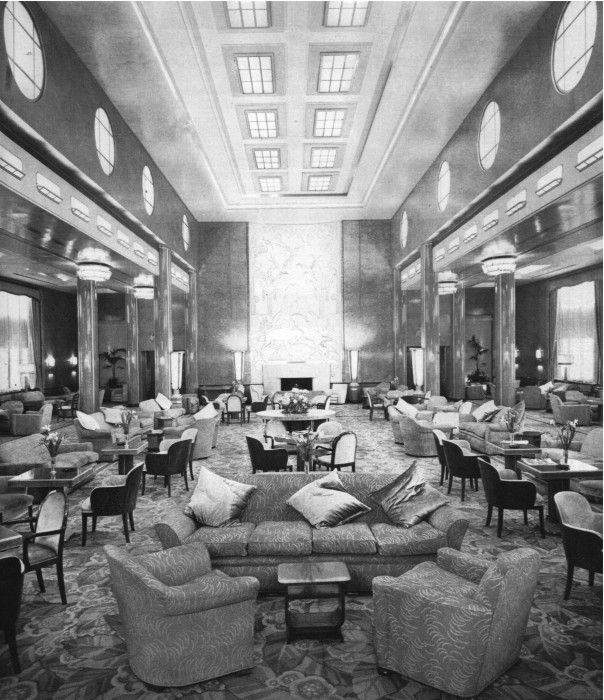 First Class Lounge 1939 RMS Queen Mary Luxury Ships
