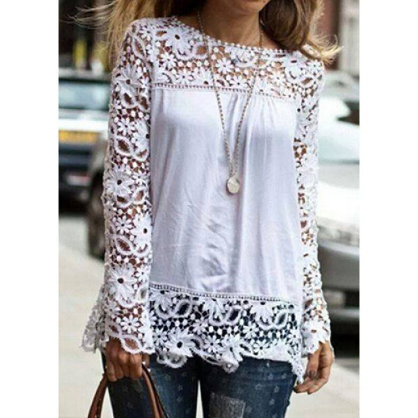 Stylish Round Neck Long Sleeve Spliced Hollow Out Women's Blouse, WHITE, XL in Tees & T-Shirts | DressLily.com