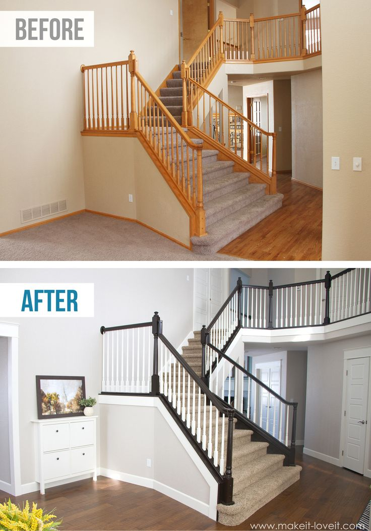 DIY How to Stain and Paint an OAK Banister, Spindles, and