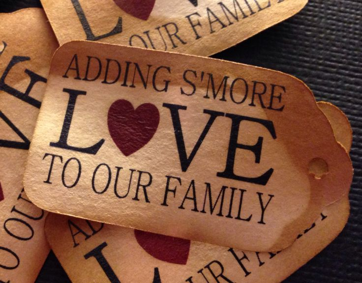 """Adding S'More Love to our Family 50 SMALL 2"""" Favor Tag by ..."""