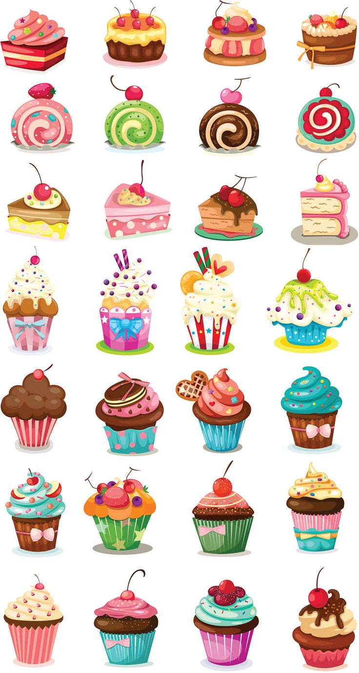 Cartoon cupcakes vector Illustration vector only