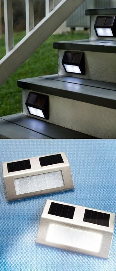 Solar Wedge Lights For Stairways, lighted stairway, outdoor lighting, gardening,