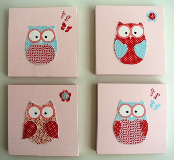 Handmade Owl Canvas Baby Or Room Decor Picture Wall Decal. Childrens Bedroom Canvas Pictures   Bedroom Style Ideas