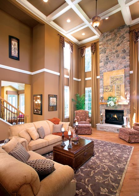 Two Story Family Room Crown Molding Milddle Of Wall