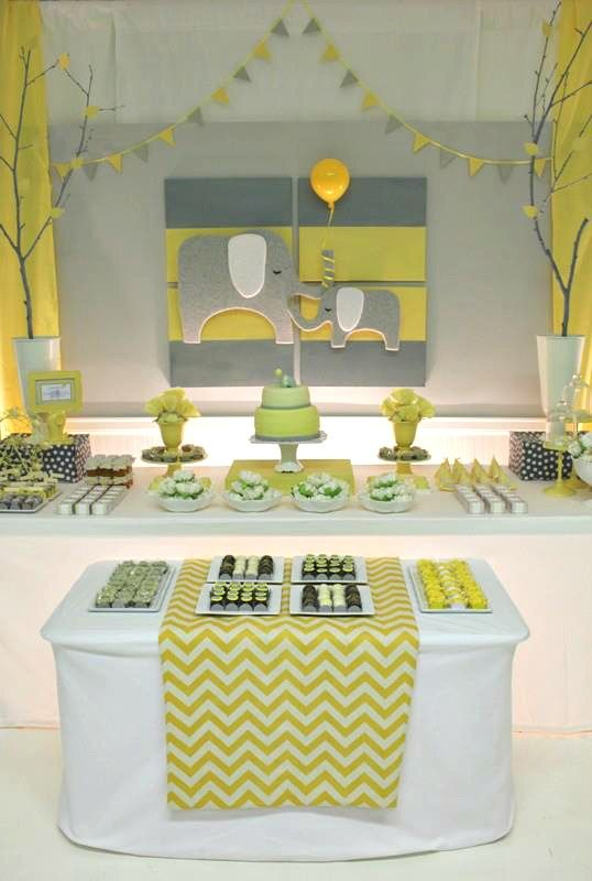 Yellow & Gray Chevron Baby Shower Ideas (Elephant Theme) for a boy or girl (Change to navy &