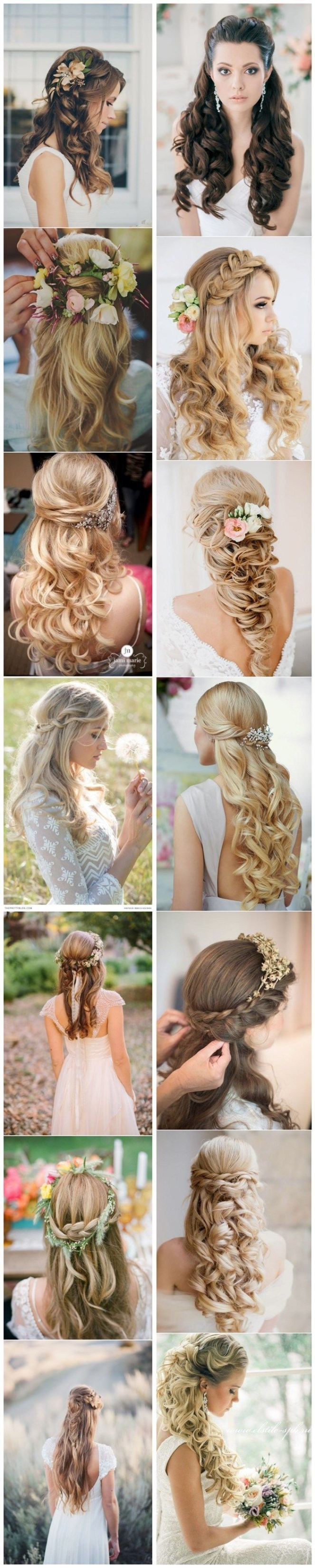 15 Stunning Half Up Half Down Wedding Hairstyles with Tutorial.: