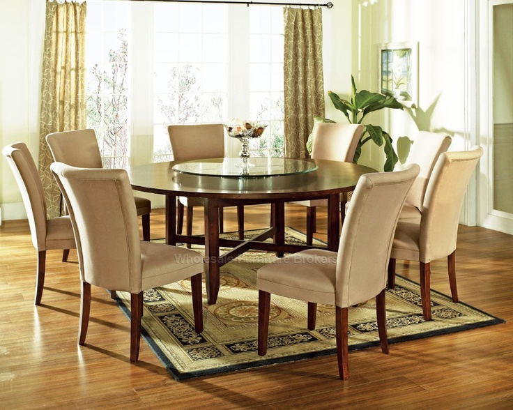 9 PC Avenue 72 Round Dining Table Set With Lazy Susan By Steve Silver DC Lazy Susan Round