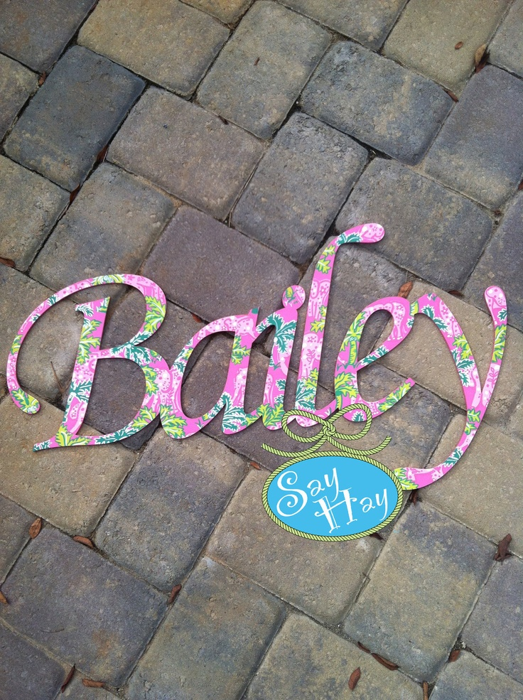 Painted Bailey Wooden Name For Nursery With Connected
