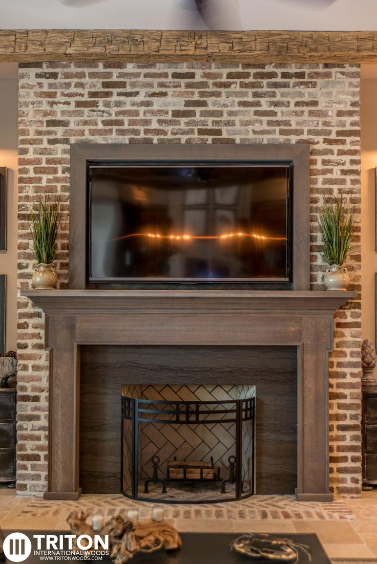 Reclaimed Brick Fireplace Also Provided Reclaimed Beams