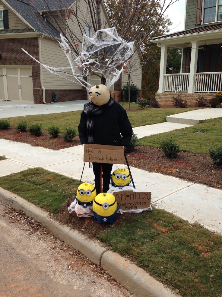 Our scarecrow display for neighborhood contest