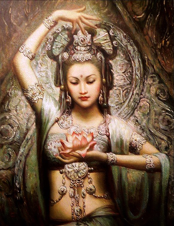 "Quan Yin (""KWAN-yin""). Her name means ""She who hears the cries of the world."" She is a goddess of mercy in Taosim, and"